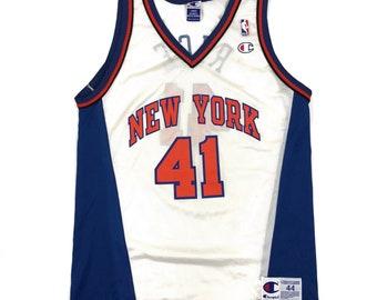 4964cd319 Vintage New York Knicks Glen Rice Champion NBA Basketball Jersey Size 44  Large Shirt 90s White Blue