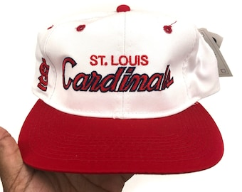 c21352c4a73031 Deadstock Vintage St. Louis Cardinals Sports Specialties MLB Baseball Twill  Double Line White Dome Script Snapback Hat Cap 90s New DS