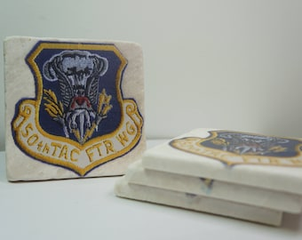 Custom Printed Tile Drink Coasters Pack of 4 -- 50th Tactical Fighter Wing