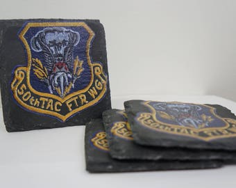 Custom Printed Stone Drink Coasters Pack of 4 -- 50th Tactical Fighter Wing