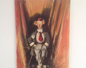 Luigi Rocca original oil painting on board, clown behind the scenes