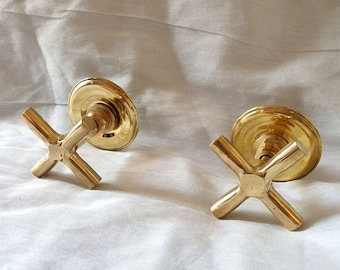 Retro Hot and Cold Faucet Cross Handles - Cross Brass  Arm Faucet Handle - Brass Flat Cross Arm Faucet Handle