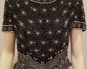 295f258fd9a247 black beaded silk evening top Adrianna Papell 1980 s L