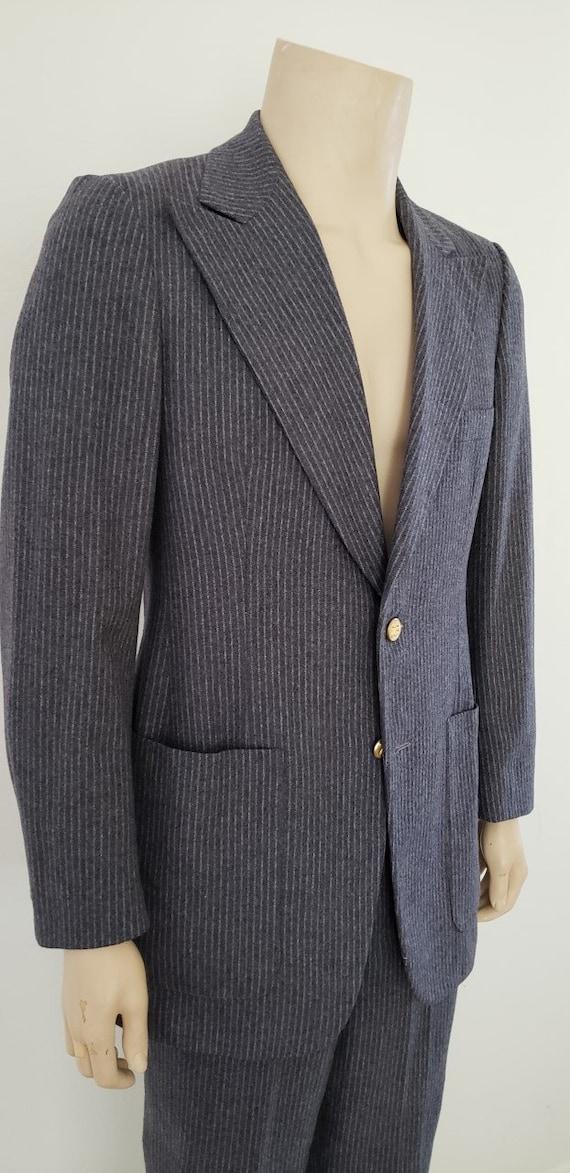 Geoffrey Beene men's 40R grey pinstripe suit 1970'