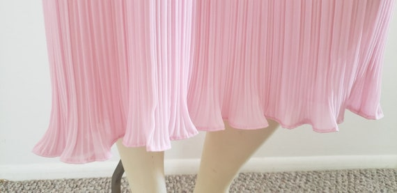 pink georgette Fortuny pleat skirt 1970's L - image 5