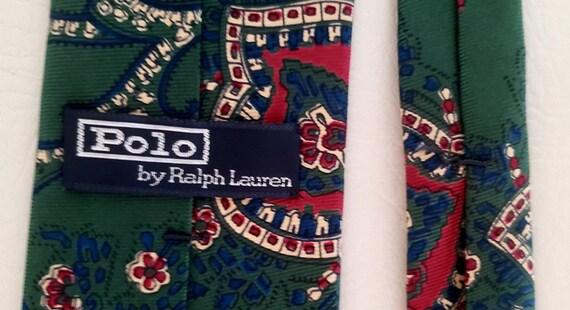 Polo neck tie hunter green silk Ralph Lauren 1980s - image 5