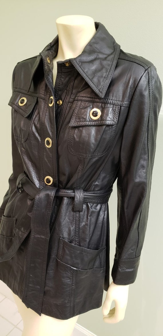 Superfly 1970's mod women's black leather jacket M