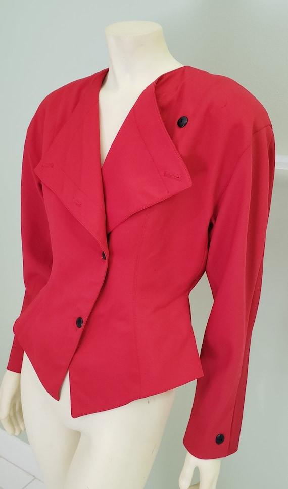 1980's big shoulder red wool power jacket M