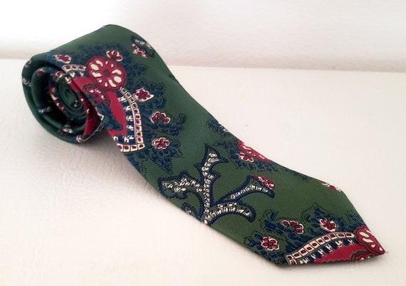 Polo neck tie hunter green silk Ralph Lauren 1980s - image 1
