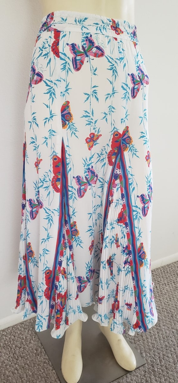 Diane Fres 1980's butterfly print skirt L pleated