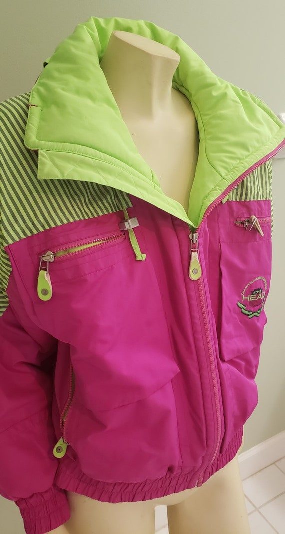 Day Glo multi color women's 1980's lined jacket He