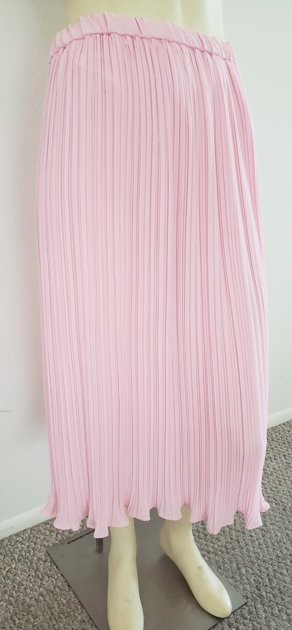 pink georgette Fortuny pleat skirt 1970's L - image 3