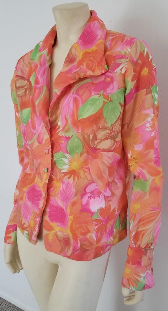 psychedelic floral blouse M 1970's Nelly de Grab