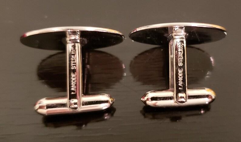 SALE Sterling silver cufflinks tie tac set in box vtg 1980/'s