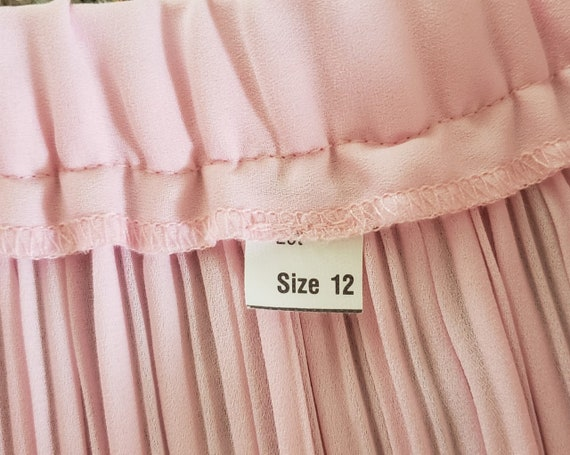 pink georgette Fortuny pleat skirt 1970's L - image 7