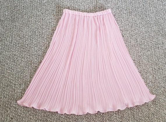 pink georgette Fortuny pleat skirt 1970's L - image 6