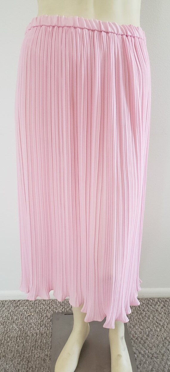 pink georgette Fortuny pleat skirt 1970's L - image 2