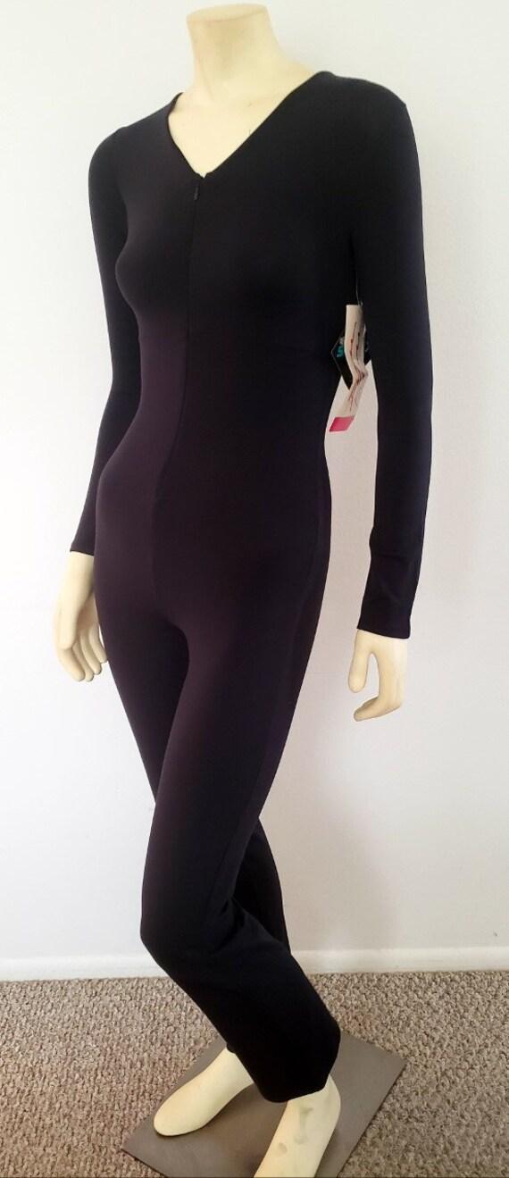 vintage catsuit jumpsuit S black dance leotard 199