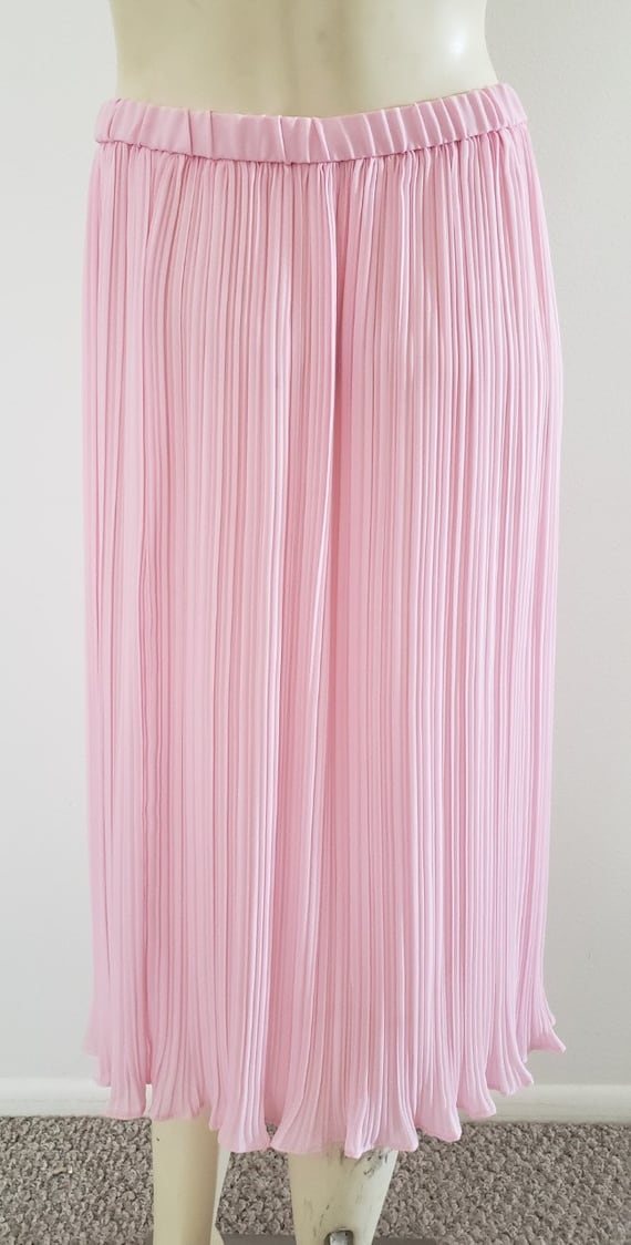 pink georgette Fortuny pleat skirt 1970's L - image 8