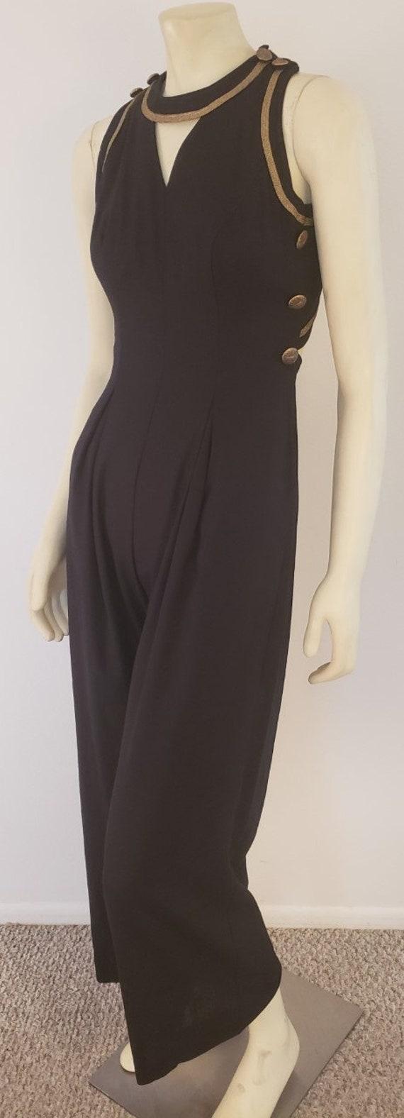 Cache black gold sleeveless jumpsuit S 1990's
