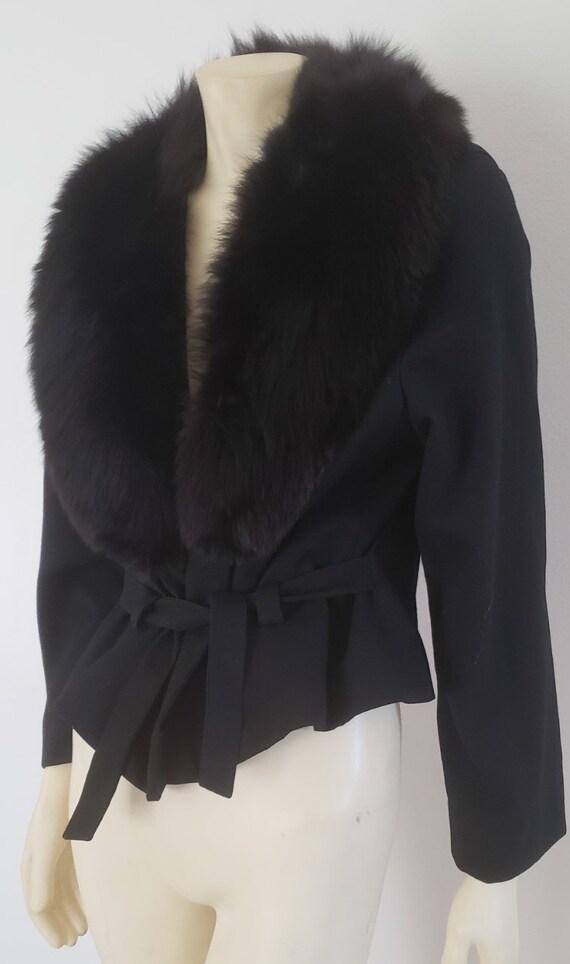 1950's black wool wrap jacket fox fur collar M Gal