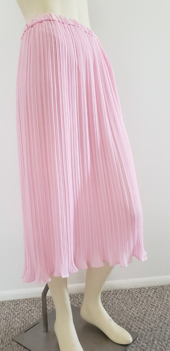 pink georgette Fortuny pleat skirt 1970's L