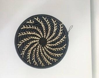 Black and white basket from Rwanda.
