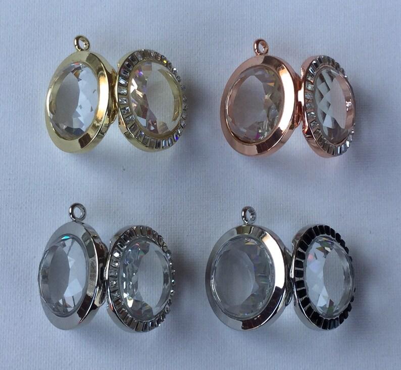 Beveled Glass Round Floating Charm Locket with Rhinestones