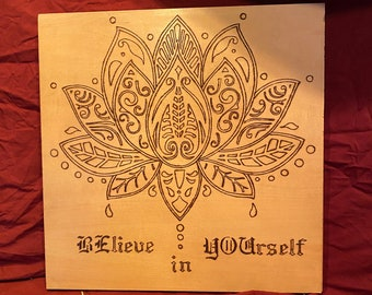 Wooden Wall Plaque. Lotus Flower
