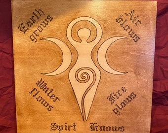 Wooden Wall Plaque, Triple Goddess