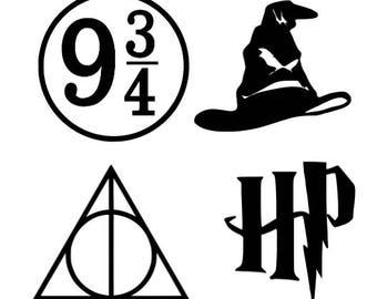 Harry Potter Black Vinyl Computer Decal Set Of 4 Platform 9 3 Sorting Hat Deathly Hallows Hogwarts Christmas Present Phone Sticker