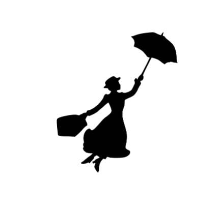 mary poppins coloring pages already colored | Mary Poppins and Umbrella Disney Inspired Black Vinyl ...
