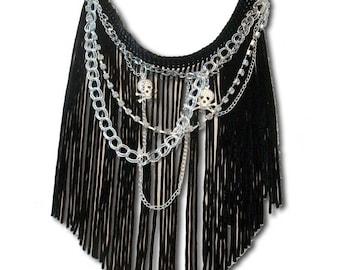 Black and silver NAMICA fringe necklace