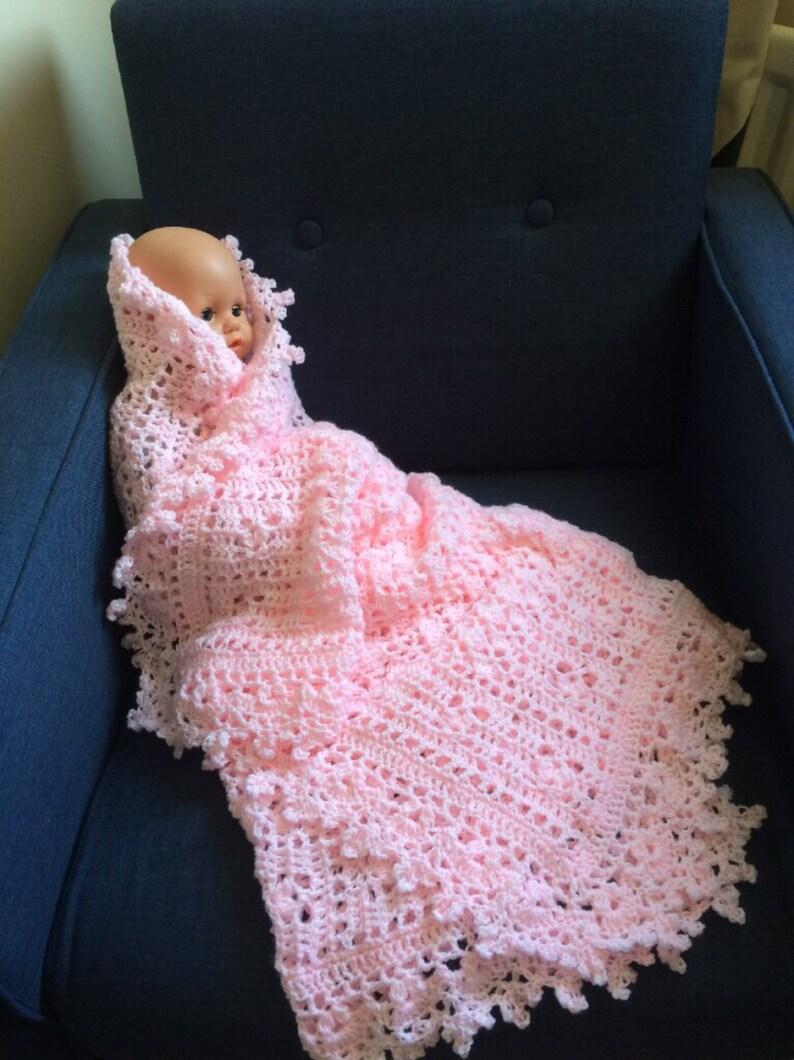 80cmx100cm. Handmade crochet Christening baby blanket baby shawl,white,pink,vintage look
