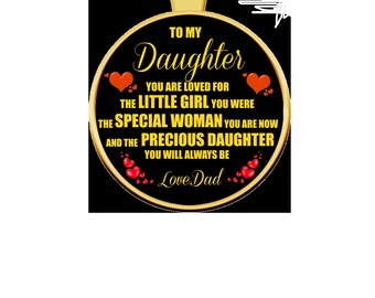 TO MY DAUGHTER: You Are Loved. Gold Pendant Necklace