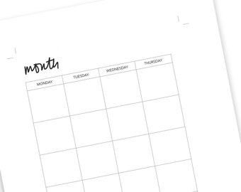 Printable A5 Planner Insert - Monthly Undated