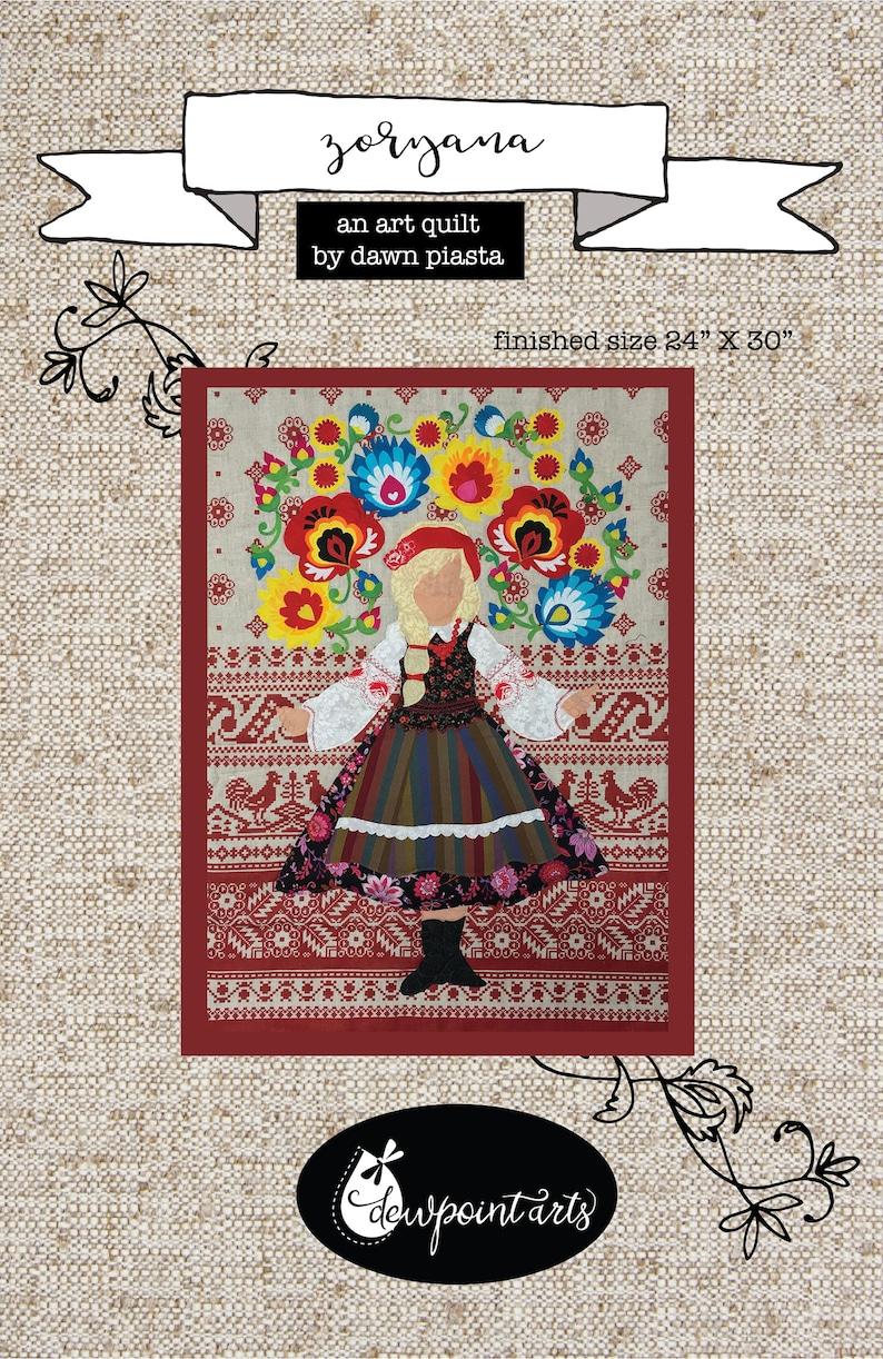 Zoryana Art Quilt Applique Digital Pattern image 0