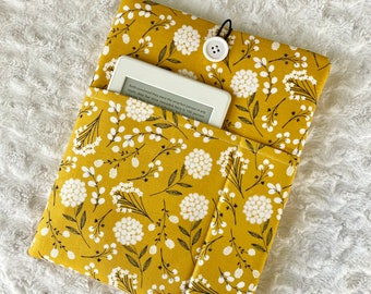 Mustard Seed / Padded Book Sleeve / With Pockets / Button Closure / Book Beau / Kindle Sleeve / iPad Case / Bookish Gift / Reader Gift
