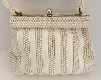 Beaded Bag, Vintage Beaded Bag, Beaded Purse, Beaded Evening Purse, Antique Beaded Bag, 1950's Beaded Bag, White Bead Bag, White Beaded Bag