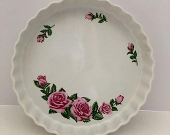 Quiche Pan, Tart Pan, Quiche Dish, Pie Pan, Baking Pan, Baking Pans, Vintage Quiche Pan, Vintage Quiche Dish, Floral Quiche Pan, Roses Pan
