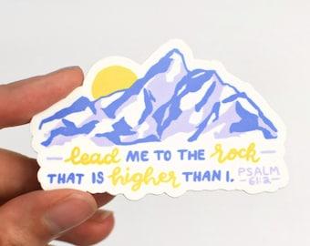 "Lead Me to the Rock, Christian Sticker, 3"" Vinyl Sticker, Waterbottle Stickers, Waterbottle Sticker, Christian Stickers, Faith Sticker"
