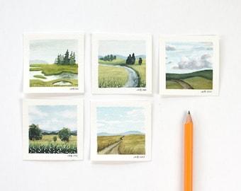 Original Tiny Watercolor Paintings, Tiny Paintings, Mini Paintings, Tiny Painting, Miniature Painting, Miniature Art, Original Watercolor
