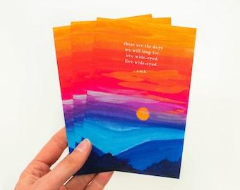 Live Wide-Eyed Postcard, Poem Cards, Painted Postcards, Poem Art, Poetry Print, Poem Print, Poetry Art, Inspirational Poem, 4x6 Postcard
