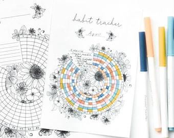 Printable Habit Tracker, Bullet Journal Template, Circular Habit Tracker, Goal Tracker, Habit Planner, Printable Habit Tracker, Bujo Tracker
