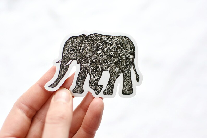 Elephant Vinyl Sticker 3 Vinyl Sticker Elephant image 0