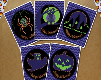 Halloween Card Set of 5 or 10 - Happy Halloween - Halloween Cards - Fun Halloween Card Set