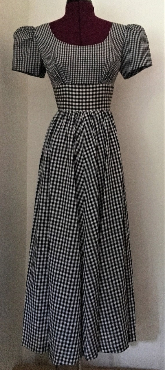 Dress Maxi Short-Sleeved Black And White Gingham P