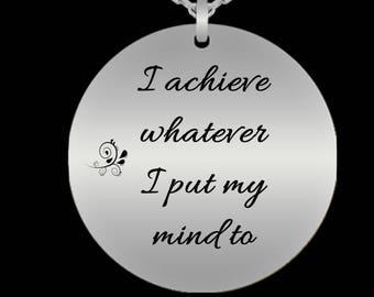 Motivational Necklace, Girl Boss, Inspirational Necklace, I Achieve Necklace, Motivational Jewelry, Entrepreneur Necklace, Entrepreneur Gift