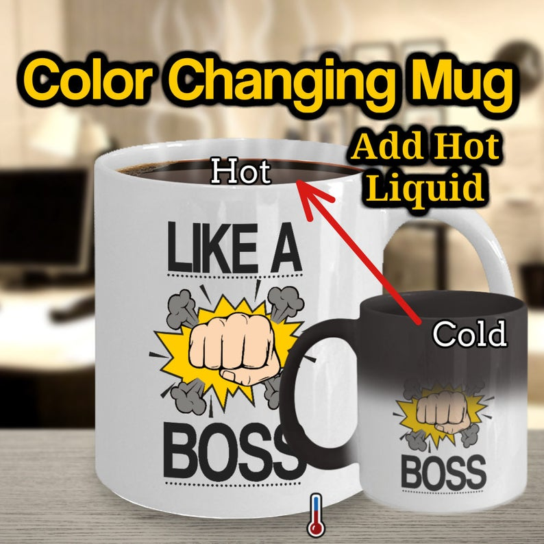 Like A Boss Coffee Mug Unique Color Changing Male