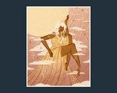 Sun Goddess Print Woman Celestial Clouds Stars Female Strength Wall Art Wall Decor Art Print Drawings and Illustrations